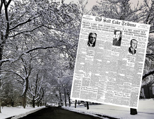 Winter street and 1931 Salt Lake Tribune
