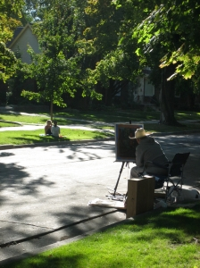 Kent and his dog Brock on Harvard Ave.