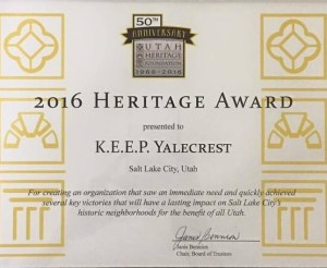 2016 Heritage Award for KEEP Yalecrest